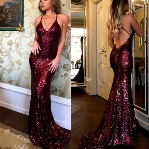 Sexy Spaghetti Mermaid Sequin Prom Dresses, Long Affordable Sparkle Prom Dresses,PD0342