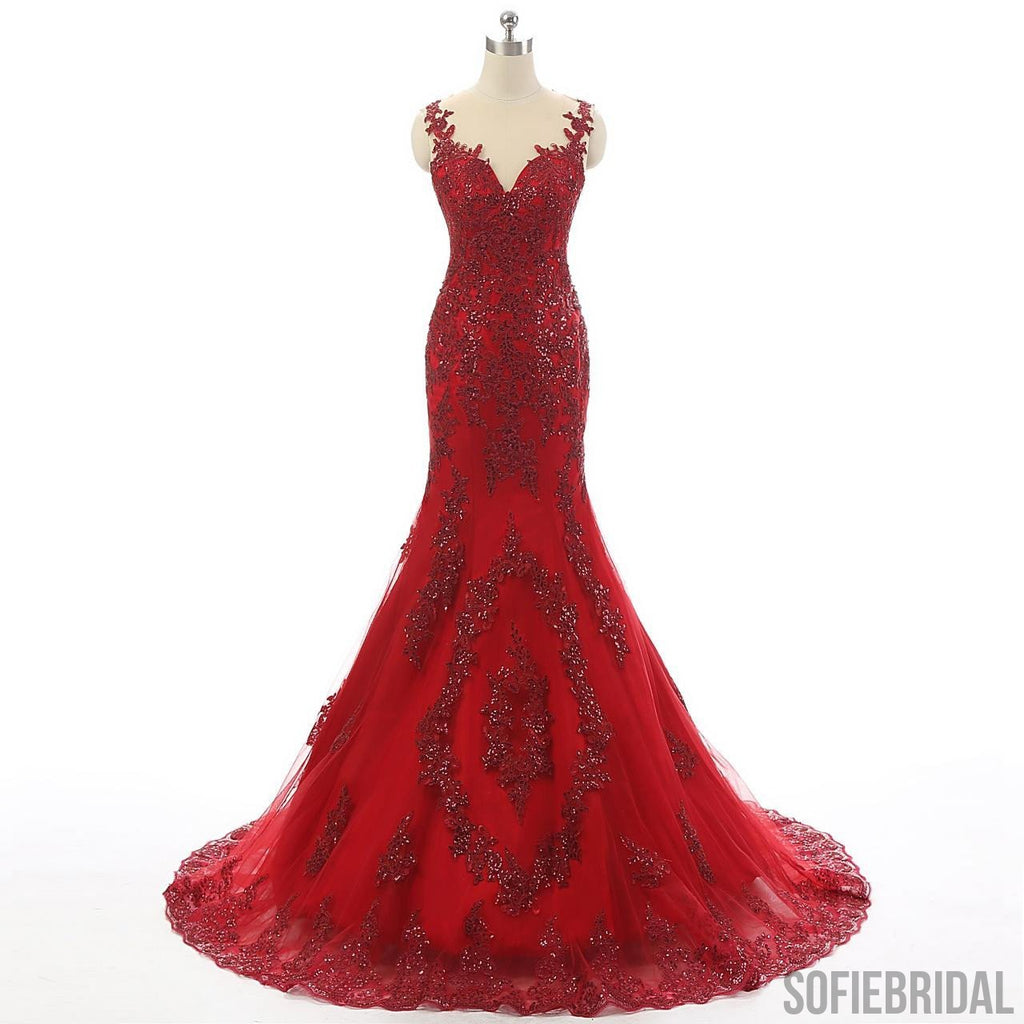Red Tulle Lace Rhinestone Luxury Real Made Long Prom Dresses, PD0255