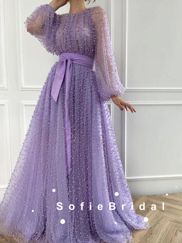 A-Line Round Neck Tulle Long Sleeves Prom Dresses With Ribbon,SFPD0078