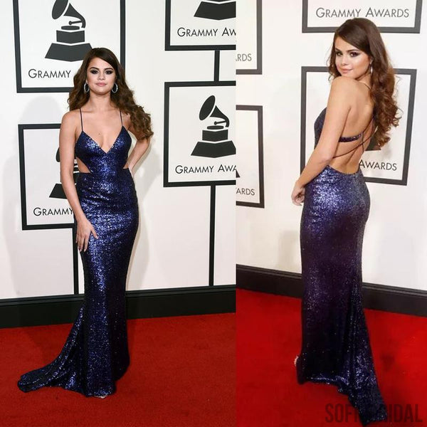 Selena Gomez Red Carpet Dresses, Spaghetti Sexy Mermaid Sequin Prom Dresses, Long Prom Dress, PD0333
