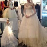 Long Sleeve Illusion White Lace Tulle Wedding Dresses, Cheap Vantage V-back Bridal Gown, WD0007