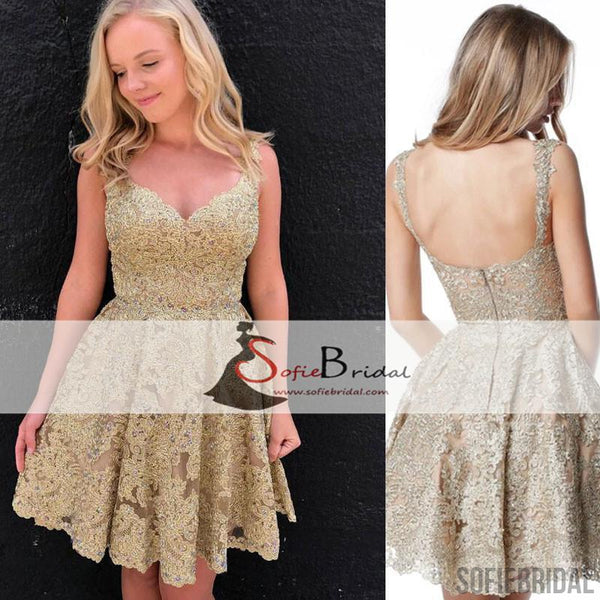 Strap Lace Beaded Short Prom Dresses, Lovely Homecoming Dresses, Homecoming Dresses, SF0096