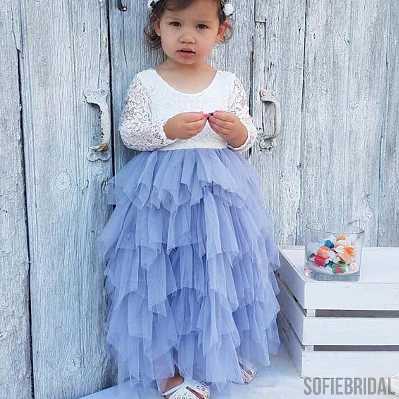 Scoop Long Sleeve Lace Top V-back Tulle Flower Girl Dresses, Popular Little Girl Dresses, FG070