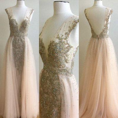 V-neck Beaded Long A-line Pink Tulle Sexy V-back Long Prom Dresses, PD0280