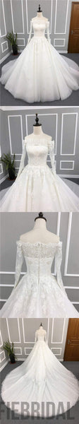 Straight Neckline Long Sleeves Elegant Wedding Dresses, Long A-line Appliques Lace Bridal Gown, WD0238