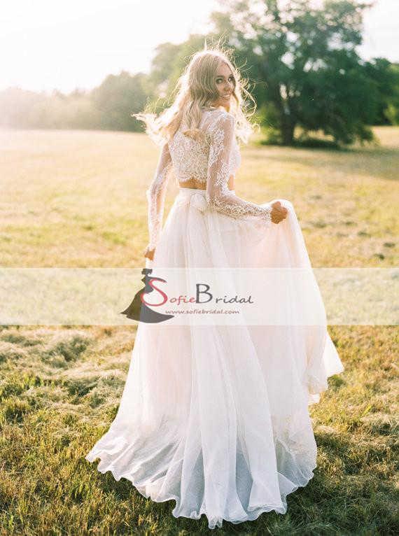 2 Pieces Lace Top Chiffon Skirt Wedding Dresses, Romantic Country Wedding Dresses, WD0267