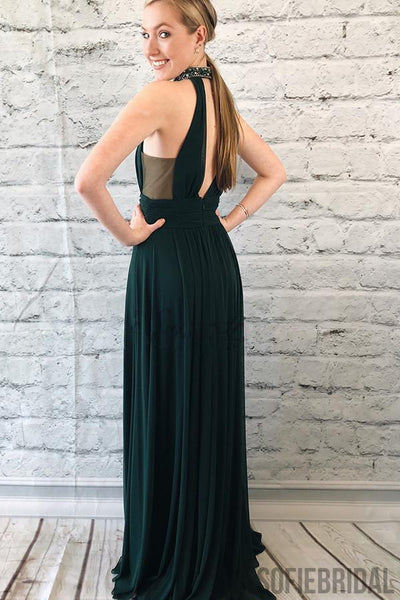 Dark Green High Neck Beaded Side Slit Prom Dresses PD0868