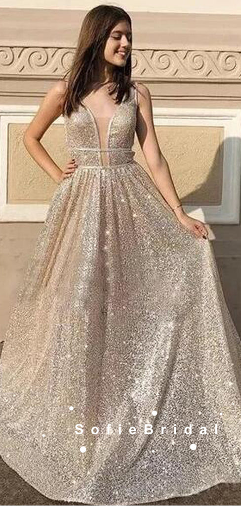 A-Line Deep V-Neck Sleeveless Cheap Long Prom Dresses Online,SFPD0081