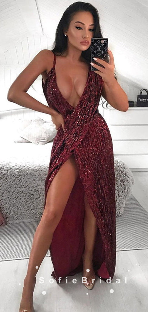 Sparkly A-Line Deep V-Neck Spaghetti Straps Split Side Long Prom Dresses,SFPD0082