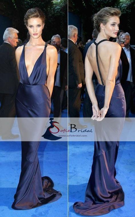 Deep V-neck Soft Satin Beaded Strap Mermaid Prom Dresses, Celebrity Dresses, PD0378