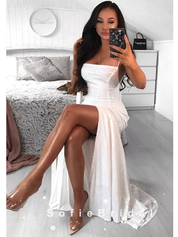 Sexy A-Line Spaghetti Straps White Long Prom Dresses With Slit,SFPD0083