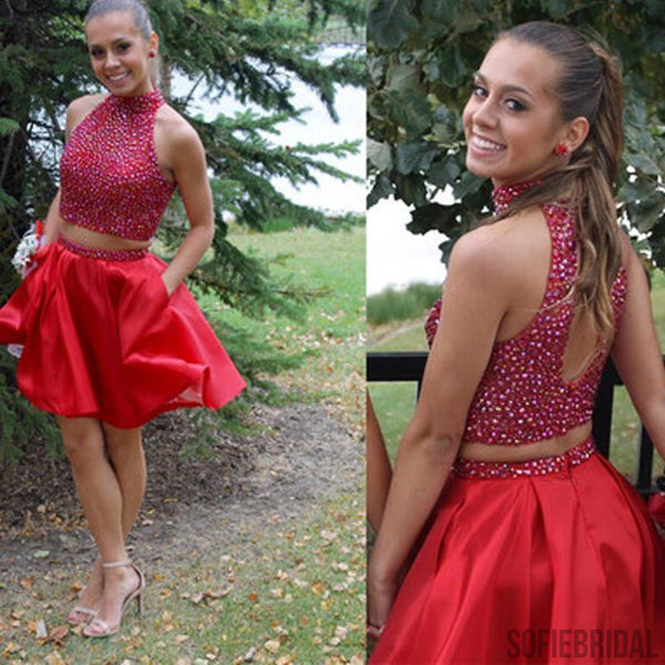 Popular red two pieces beaded unique homecoming prom dresses, SF0068
