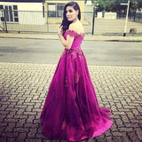Off Shoulder Lace Long A-line Floor Length Tulle Prom Dresses, PD0254