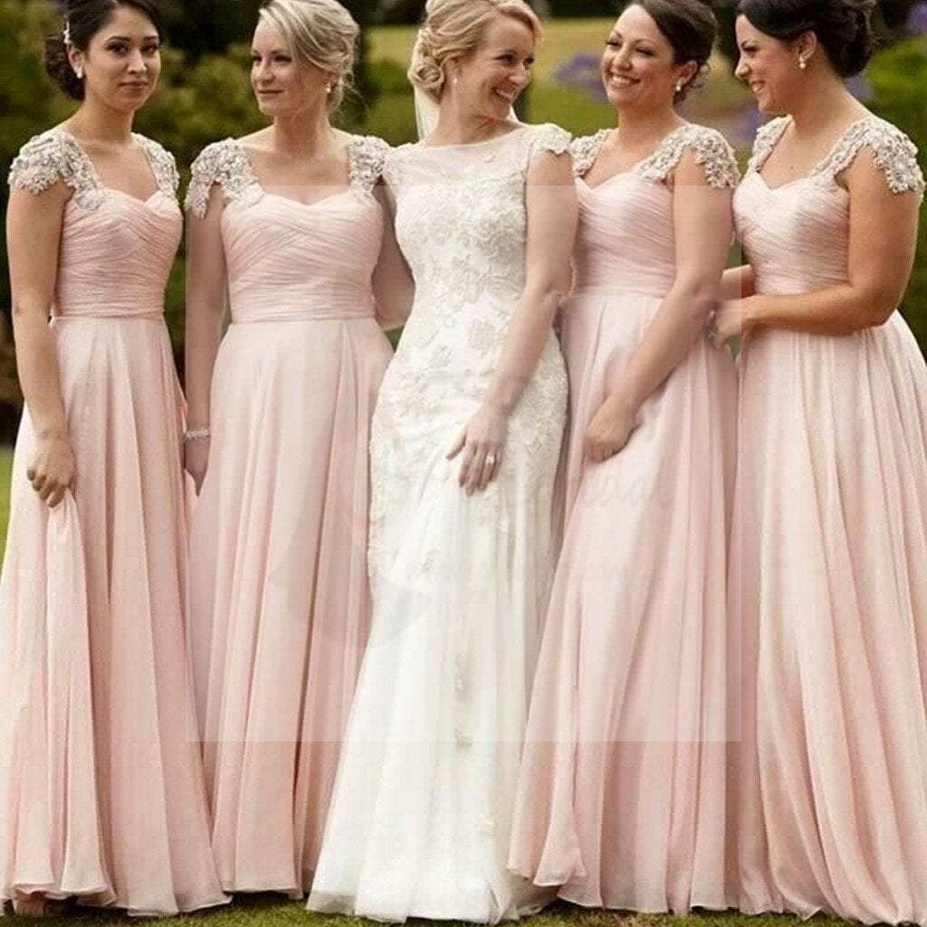 Pretty Junior Cap Sleeve Blush Pink Chiffon Formal A Line Floor-Length Cheap Bridesmaid Dresses, WG85