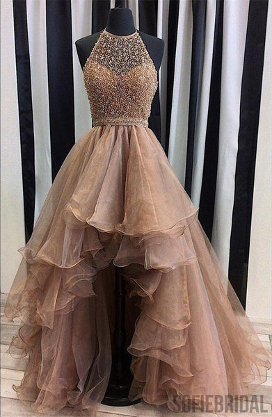 Halter Top Illusion Rhinestone Beaded Hi-low Tulle Prom Dresses, Most Popular Long Prom Dresses, PD0316