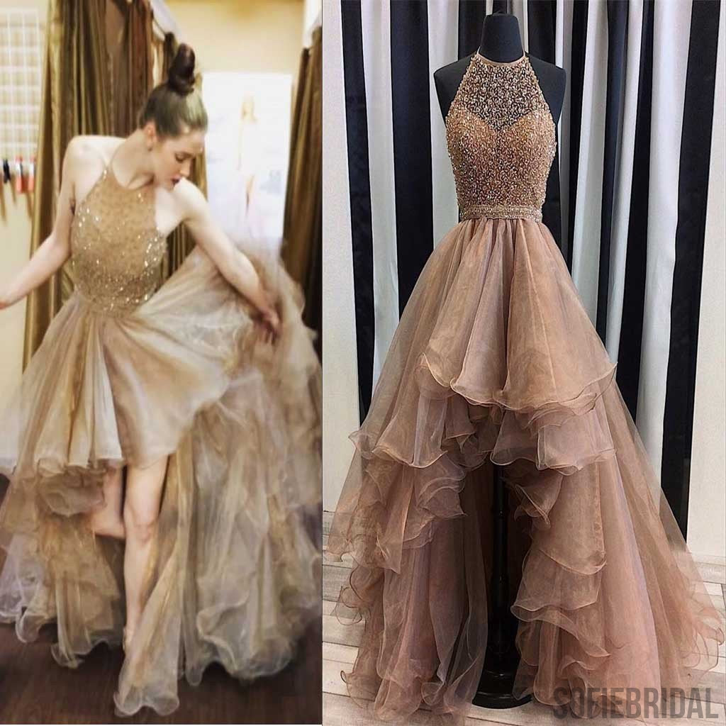 Most Popular Bridesmaid Dress: Halter Top Illusion Rhinestone Beaded Hi-low Tulle Prom