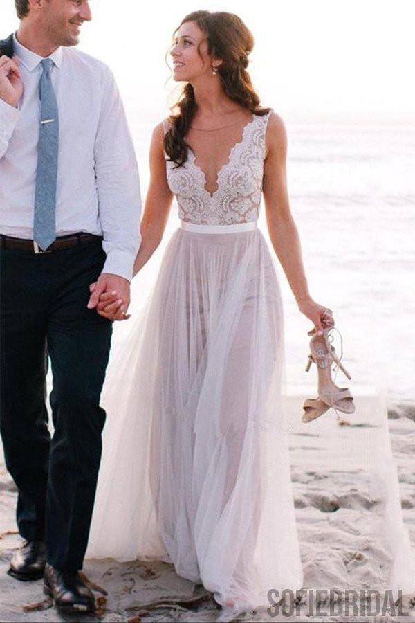 Newest Design V-neck lace tulle Long A-line Beach Wedding Dresses, WD0117