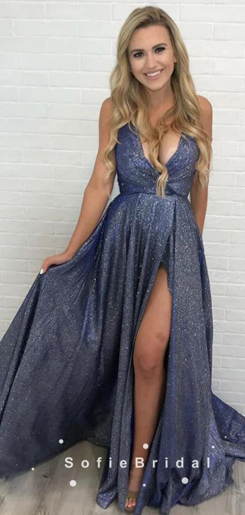 A-Line Deep V-Neck Spaghetti Straps Custom Long Prom Dresses With Slit,SFPD0088