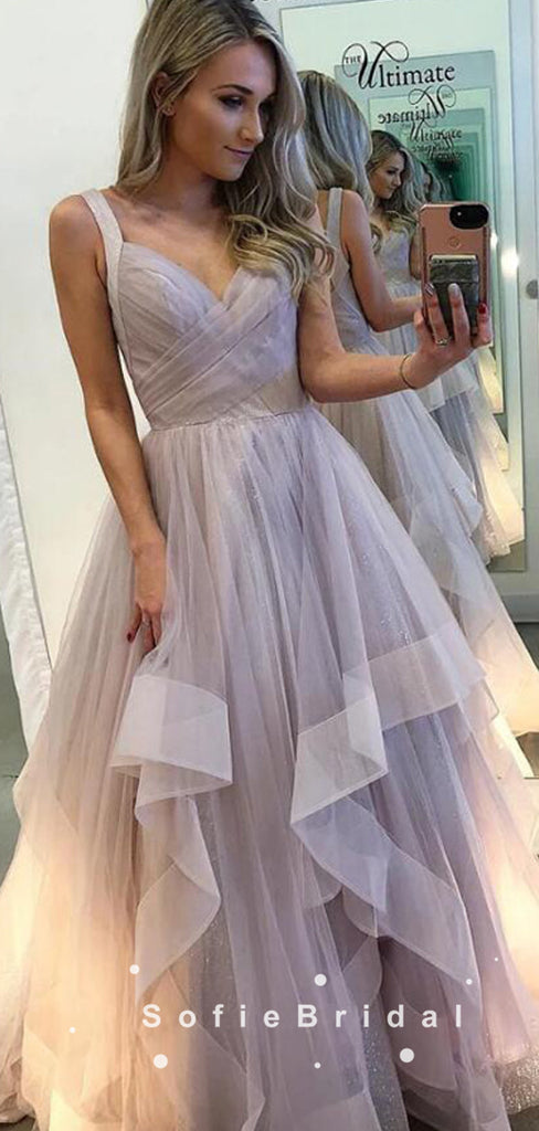 A-Line V-Neck Straps Tulle Cheap Long Prom Dresses With Pleats,SFPD0089