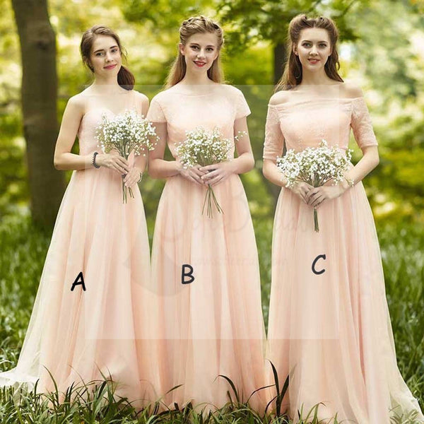 Impressive Mismatched Sweet Heart Chiffon Top Lace Short Sleeve Straight Neck Half Sleeve Cheap Bridesmaid Dresses, WG89