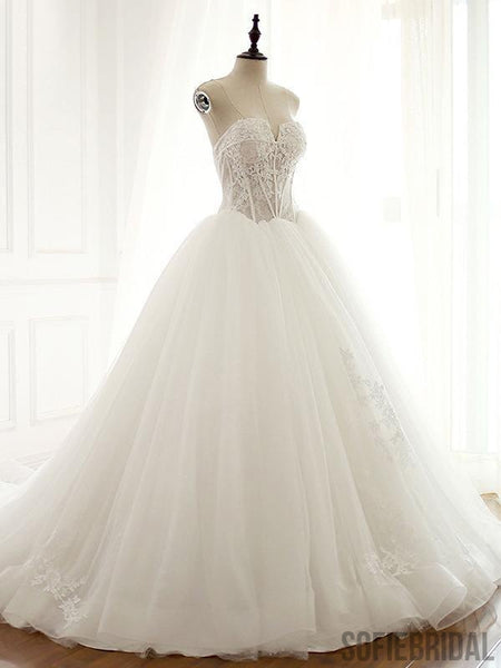 See Through V Neck A-line Lace Long Custom Cheap Wedding Bridal Dresses, WD300
