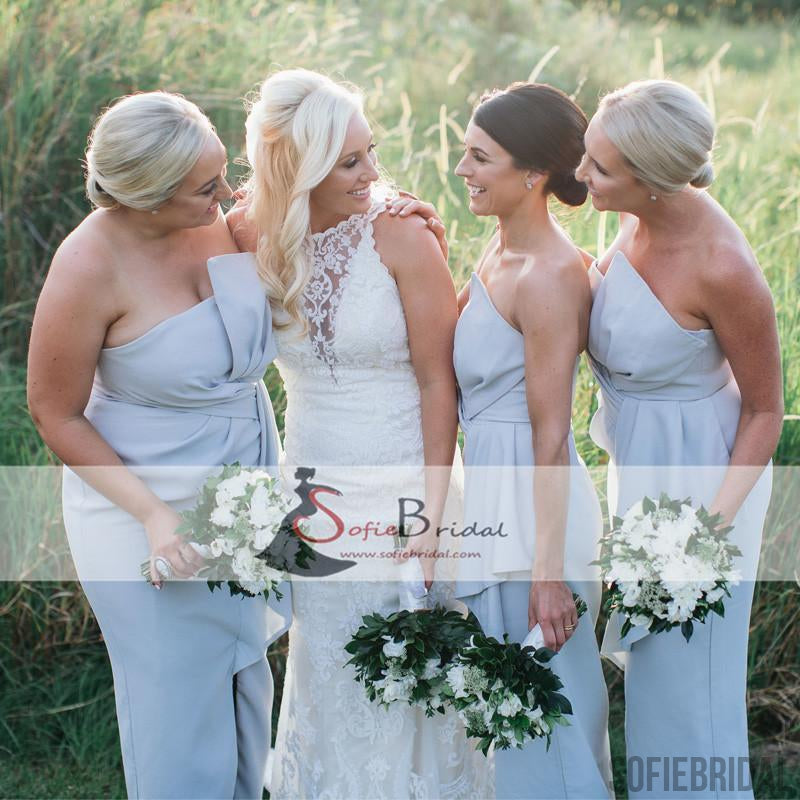 Special Dusty Blue Sheath Bridesmaid Dresses, Front Slit Bridesmaid Dresses, Cheap Bridesmaid Dresses, PD0490