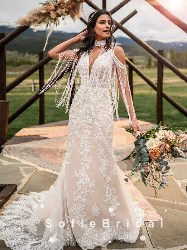 Mermaid High Neck Tassels Open Back Long Wedding Dresses With Lace,SFWD0008