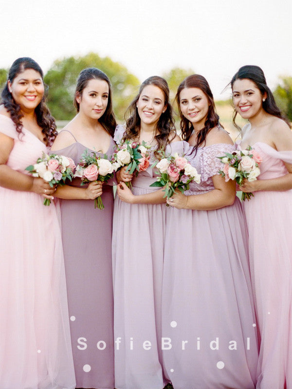 A-Line Off The Shoulder Chiffon Bridesmaid Dresses With Lace,SFWG0008