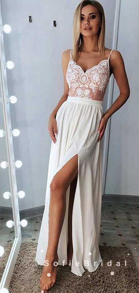 A-Line V-Neck Spaghetti Straps Chiffon Long Prom Dresses With Lace,SFPD0009