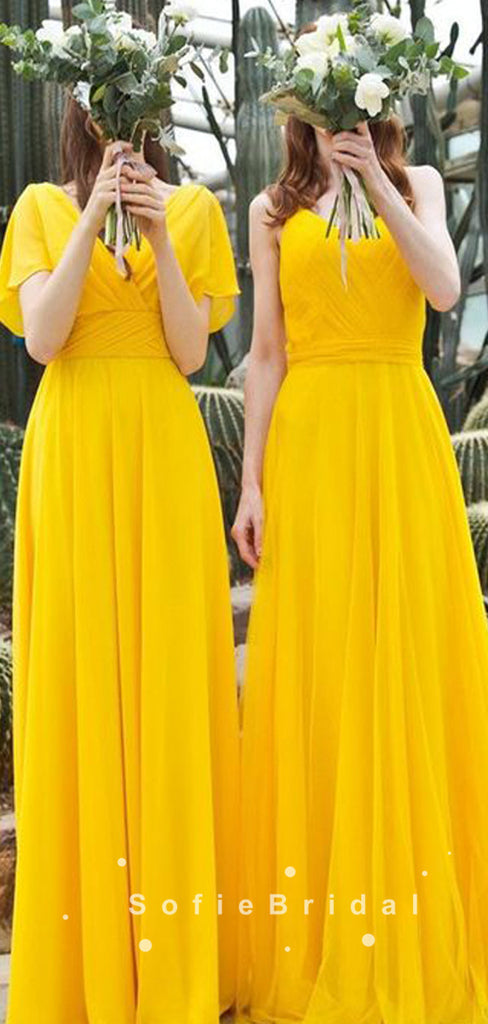 Newest A-Line Mismatched Yellow Chiffon Simple Bridesmaid Dresses,SFWG0009
