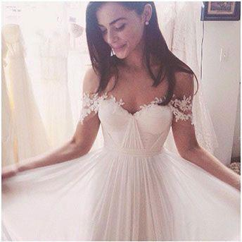 Off Shoulder Lace Sleeves Unique Casual Cheap Beach Wedding Dresses, WD313