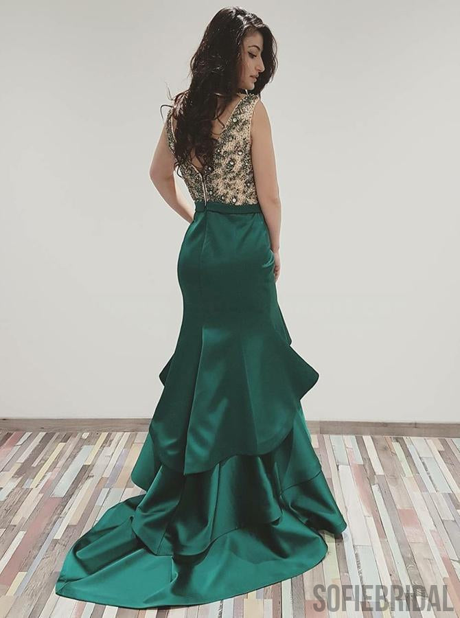 V-neck Emerald Green Satin Mermaid Beaded Prom Dresses, PD0917