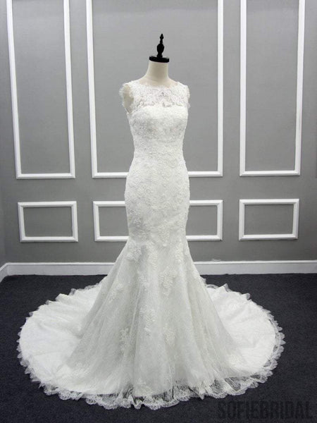 Scoop Illusion Long Mermaid Lace Tulle Wedding Dresses, Sleeveless Cheap Bridal Gown, WD0239