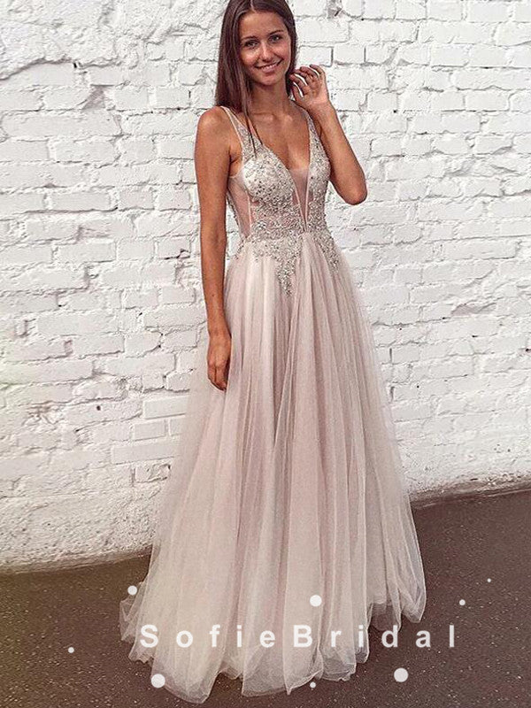 A-Line Deep V-Neck Sleeveless Tulle Long Prom Dresses With Beading,SFPD0090