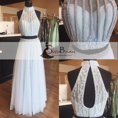 2 Pieces Halter Illusion Pearl Beaded Tulle Prom Dresses, Lovely Long Prom Dresses, PD0368