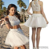 Popular white lace two pieces cheap tulle homecoming dresses, SF0020