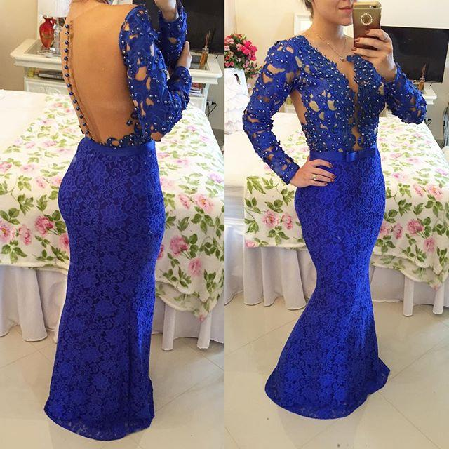 Gorgeous Royal Blue Lace Beaded Long Sleeve See Through Back style Long Mermaid Prom Dresses, PD0281