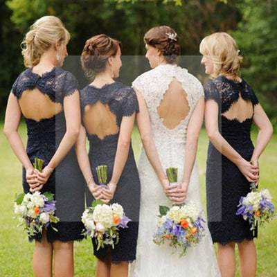 Charming Elegant Lace Navy Blue Open Back Knee-Length Short Mini Cap Sleeve Cheap Bridesmaid Dresses, WG095