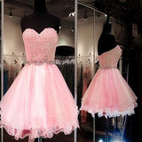 Pink Organza Sweetheart Beaded Zip Up Homecoming Prom Dresses, SF0052