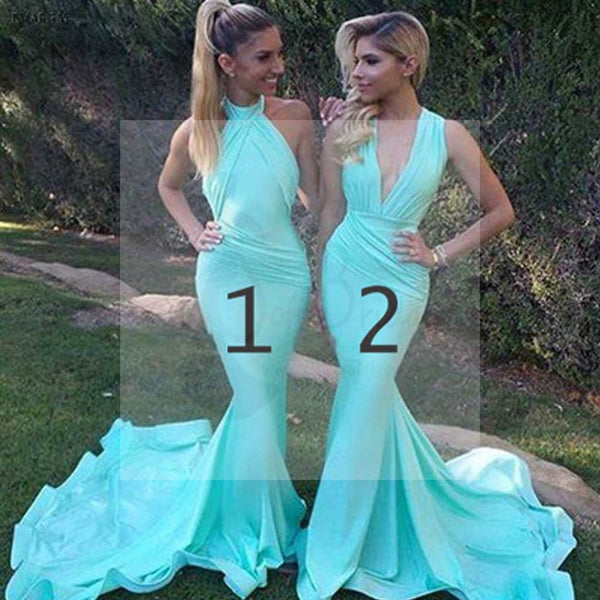 Unique Sexy Mermaid Blue Mismatched Different Styles Charming Inexpensive Long Wedding Party Dresses for Maid of Honor, WG097
