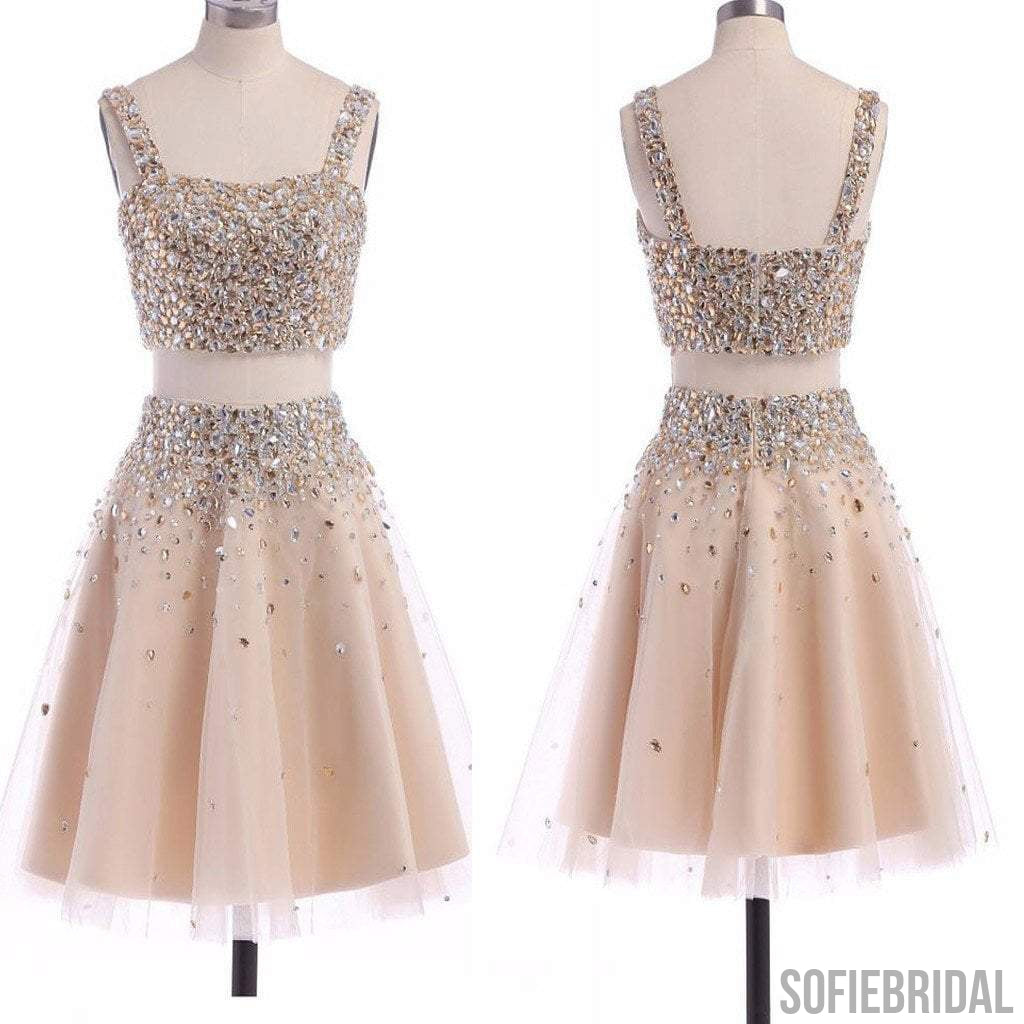 Popular two pieces sparkly unique homecoming prom gown dress,BD0098