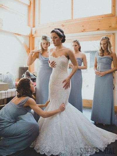 One Shoulder Dusty Blue Long A-line Chiffon Bridesmaid Dresses, Cheap Popular Bridesmaid Dresses, PD0322