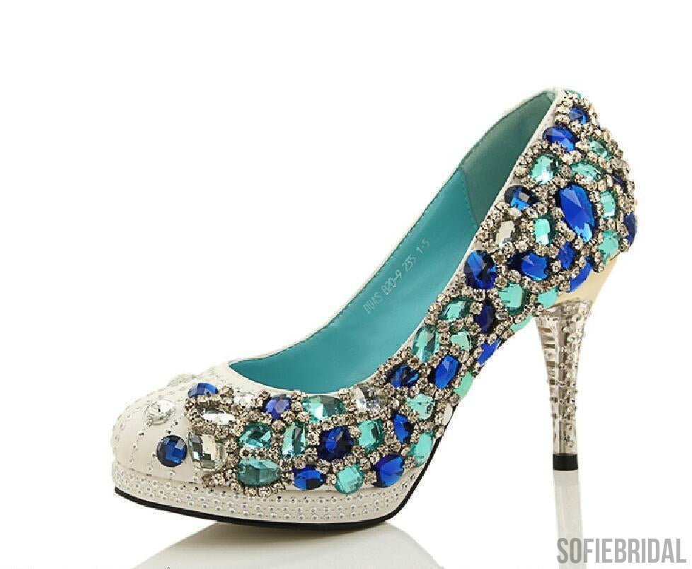 Four Colors Handmade Rhinestone High Heels Pointed Toe Crystal ...