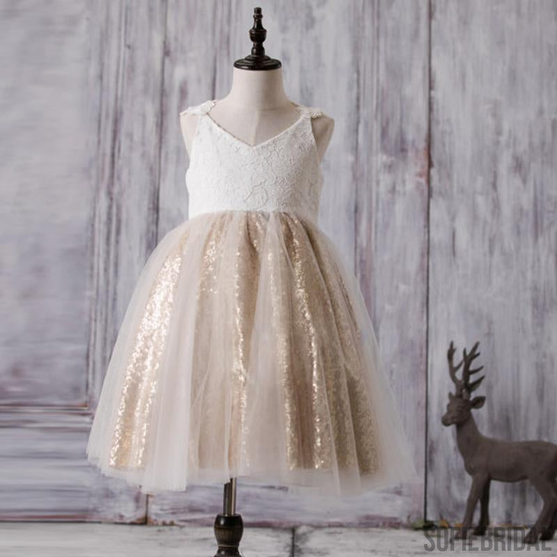 V neck hi low ivory flower girl dresses cute cheap tutu dresses lace top sequin tulle flower girl dresses affordable lovely zip up little girl dresses mightylinksfo