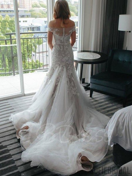 Off Shoulder Appliques Tulle Mermaid Long Train Wedding Dresses, WD0282