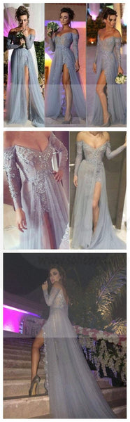 Long Prom Dresses, Gray Prom Dresses, Lace Prom Dresses, Off Shoulder V-neck Prom Dresses, Side Slit Sexy Prom Dresses, Evening Dresses, PD0021