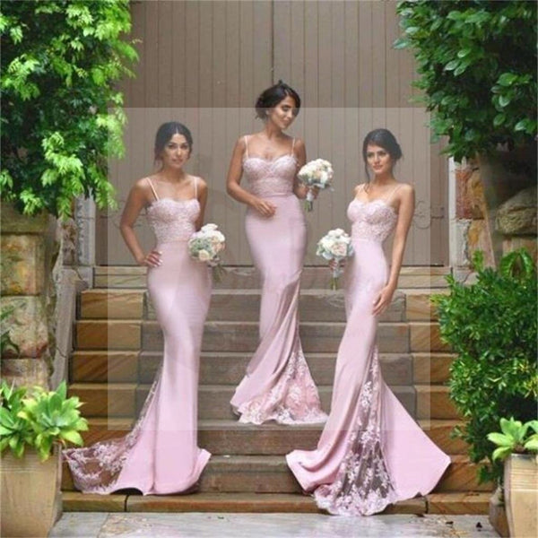 Sexy Mermaid Spaghetti Straps Bridesmaid Dresses, Cheap Bridesmaid Dress with Lace
