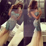 Sexy See Through Mermaid Prom Dresses,Evening Prom Dresses, Rhinestone Prom Dresses