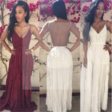 Backless Simple Strap Long A-line Prom Dresses, PD0240