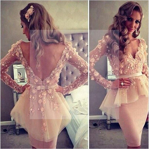 Long Sleeves Prom Dresses, V-Neck Prom Dresses, Open Back Prom Dresses, Formal Prom Dresses, Unique Prom Dresses, Evening Dresses, Prom Dresses Online, PD0105